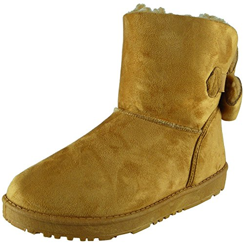 Boots Hard Ankle Faux Size 8 Flat Fur Bow Ladies Sole Winter Shoes 3 Camel Warm w8qwYIC