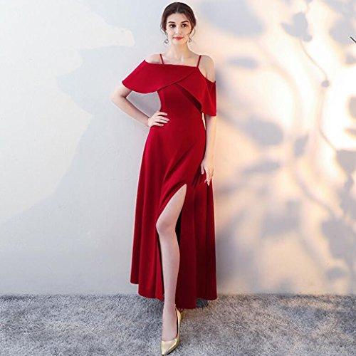 Lunga Da Sezione Rosso XXL Vino A Sexy Sposa Colore Abito Formale dimensioni Da Vino Estate Femminile Sera Orlo Sposa Bretelle Vestito rosso Abito Biforcazione Rosso Abito Vino vqYxHz