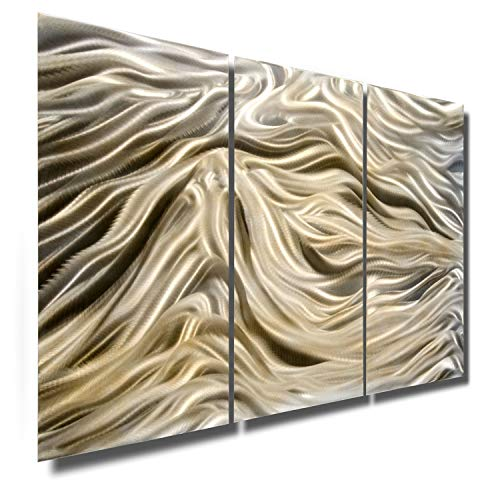 - Statements2000 Modern Contemporary Golden, Pecan and Silver Metallic Wall Sculpture - Abstract Home Office Wall Decor Accent Art - Divine by Jon Allen