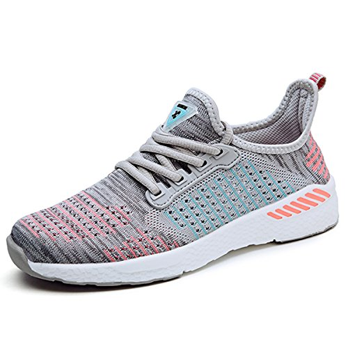 SUADEEX Homme Femme Chaussures de Sports Basket Mode Basse Chaussures de Course Trail Fitness Gym Athlétique Running Baskets Sneakers Gris-rose