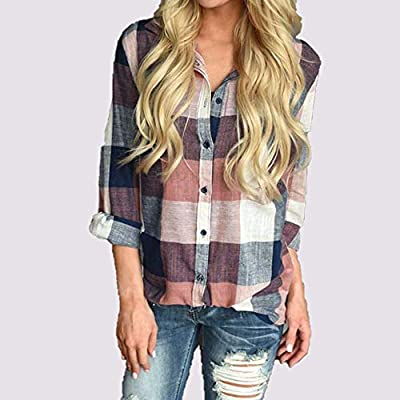 A Mandarin Orange Summer Sunscreen Women Button Down Plaid Shirts Casual Gingham Checkered Shirt Long Sleeve Blouse