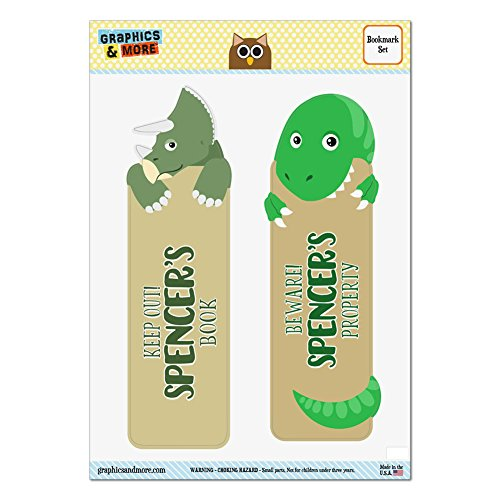 set-of-2-glossy-laminated-triceratops-and-tyrannosaurus-t-rex-dinosaurs-bookmarks-names-male-sh-sy-s