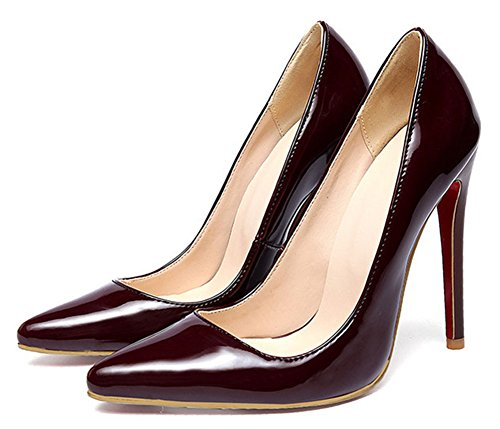 Easemax Womens Fashion Pointed Toe Low Cut Solid Pumps High Stiletto Heel Shoes Wine Red 4 B(M) US 94Vz6