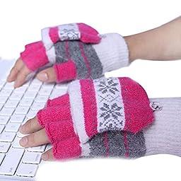EUBUY USB2.0 Heated Snowflake Pattern Stripped Half/Full Finger Winter Hand Warmer Gloves Mittens (Hot pink)