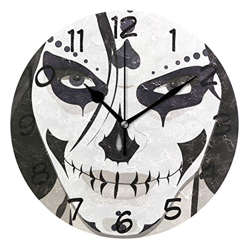 LORVIES Halloween Guy Makeup Style Wall Clock Silent Non Ticking Acrylic Decorative 10 Inch Round Clock for Home Office School