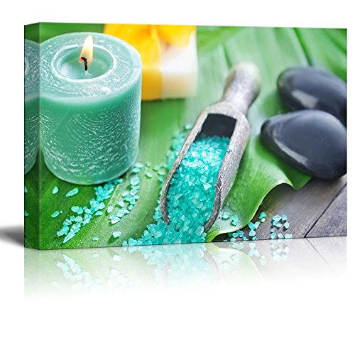 Relaxing Spa Salts with Burning Candle and Zen Stones Wall Decor ation