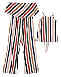 Family Matching One Piece Striped Romper Dress Mommy Me Spaghetti Straps Dress Off Shoulder Strapless Tube Jumpsuit (Striped, Mom/M)
