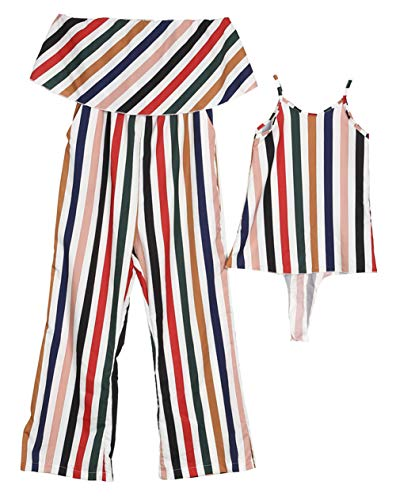 Family Matching One Piece Striped Romper Dress Mommy Me Spaghetti Straps Dress Off Shoulder Strapless Tube Jumpsuit (Striped, Mom/M) by YT couple