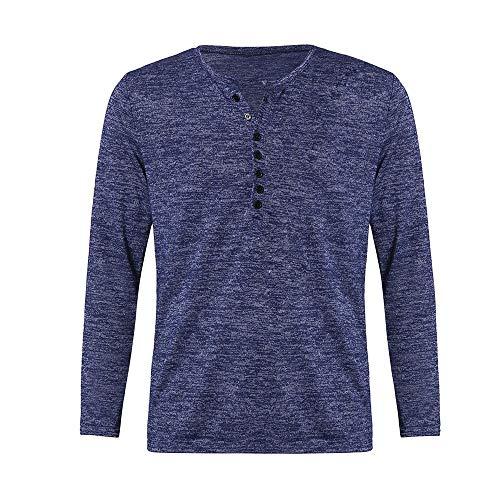 Sunhusing Men's Fall Winter Button-Down Collar Slim Fit Long Sleeve T-Shirt Bottom Work Shirt