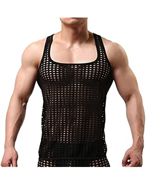 Men's Mesh See Through Muscle Fishnet Tank Top Underwear