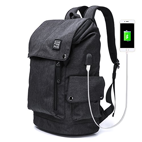 MR.YLLS Business Laptop Backpacks Anti thief Tear / water Resistant Travel Bag fits up to 15 Inch Macbook Computer USB Charging Backpack (Black)