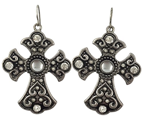 Rhinestone Burnished Silver Tone Western Look Dangle Cross Earrings (Silver Tone Rhinestone Earrings)