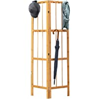 UNHO Leaning Coat Rack Stand, Wooden Coat and Hat Stand Corner Coat Stand Foldable Room Divider for Scarves Clothes Hat…
