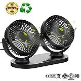 USB Desk Fan,Twins Car Fan 3 Speeds 360º Pivot Desktop Cooling Fan Air