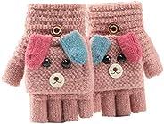 Cartoon Unisex Kids Fingerless Flap Cover Gloves - Convertible Flip Top Warm Mittens for 5-12 Ages