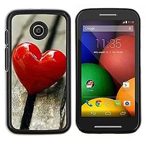 Caucho caso de Shell duro de la cubierta de accesorios de protección BY RAYDREAMMM - Motorola Moto E - El amor del Corazón y Madera