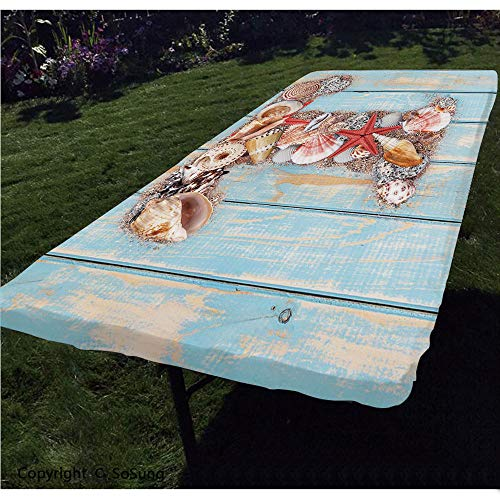 Letter T Polyester Fitted Tablecloth,Letter T with Freshwater Invertebrates on Weathered Wood Planks Rectangular Elastic Edge Fitted Table Cover,Fits Rectangular Tables 48x24