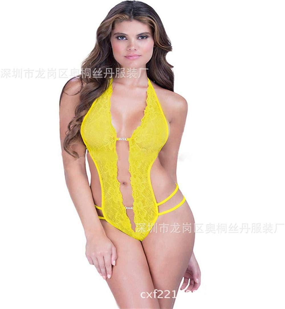 Conjuntos de lencería para Mujer Ropa de Dormir erótica para Mujer y Conjuntos de Batas Lencería Sexy Encaje Colgante Cuello Abierto Hueco Sexy Siamés-Amarillo_XL: Amazon.es: Hogar