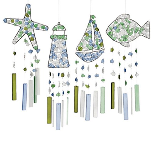 Set of 4 Sea Glass Silhouette Windchime 18'' by CC Home Furnishings