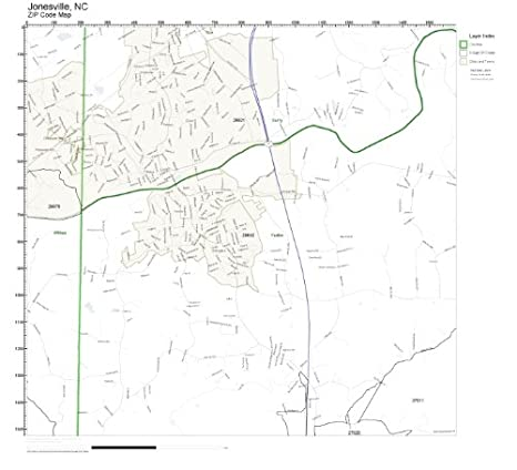 Jonesville Nc Map.Amazon Com Zip Code Wall Map Of Jonesville Nc Zip Code Map Not