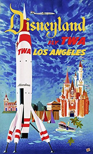 """TWA Jets Airline 8.5/"""" X 11/""""  Travel LOS ANGELES Poster"""