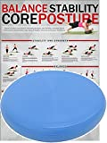 POWRX Ballsitzkissen Deluxe inkl. Workout I 36 cm Gleichgewichtskissen orthopädisch I Balance-Kissen Blau PVC frei