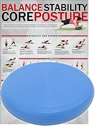 POWRX Plataforma de Equilibrio sin PVC para Fitness, Yoga y Pilates - 36 o 50 cm (36 cm/Azul)