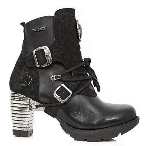 Floral Black Itali s1 New Womens Rock Leather tr061 Boots M 66zwqY