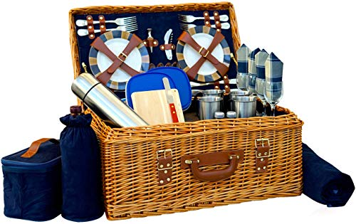 Picnic Basket Set Deluxe | Marshall Collection | 4 Person Coffee Service Set | Picnic Hamper Set Waterproof Picnic Blanket Ceramic Plates Metal Flatware Wine Glasses Bottle Opener | Vacuum Flask