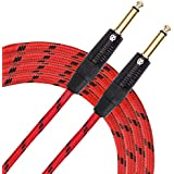 "KLIQ Guitar Instrument Cable, 10 Ft - Custom Series with Premium Rean-Neutrik 1/4"" Straight Gold Plugs, Red/Black Tweed"