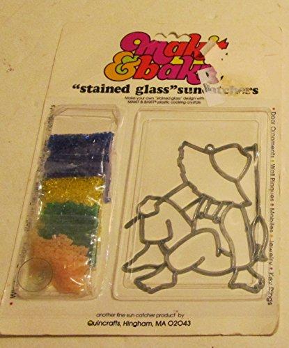 MakitBakit Stained Glass Suncatcher Kit #50531 - Fishing Man & 4 Packs of Baking Crystals (Vintage) ()