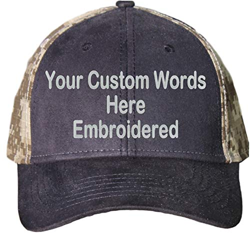 Custom Hat, Embroidered. Your Own Text. Adjustable Back. Curved Bill (Canvas Black/Khaki Digital -