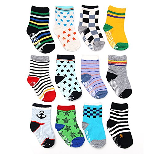 ShoppeWatch 12 Pairs Baby Toddler Socks with Grips Anti-Slip Non-Skid Bottoms For Kids Babies Boys 2T and 3T Walkers BBSK41B