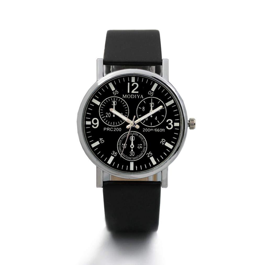 2018 Analog Watch Bussiness Men Watch Three Eye Blue Glass Dial Wrist Watch Zulmaliu (Black)