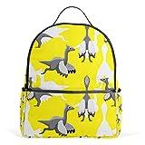 XINGAKA Mini Backpack for Girls Cute Dinosaur Pelecanimimus Cartoon Background Seamless Travel Bags Womens Casual Fashion School Sport Outdoor Daypack Accessories Ruchsack