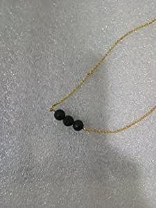 """Lava Stone Bead Essential Oil Diffuser Necklace,3 Lava Ball Essential Pendant Aromatherapy Jewelry With Stylish Golden 15.7"""" O Chain"""