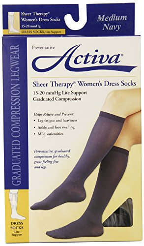 Activa 15-20 mmHg   Sheer Therapy Women's Socks, Navy, Medium