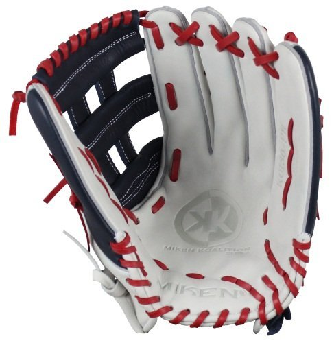 Miken KO Series Slowpitch Pro H Web Pattern Fielding Glove, Left Hand Throw, Red/White/Blue, (White Slow Pitch Softball)