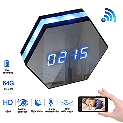 MAGHO Wall Clock Spy Camera,1080p Full Hd WiFi Clock Cam with 8m Ir Super Night Vision,Wireless Motion Activated Surveillance Nanny Recorder System for Home/Office, Free Android/iOS APP by Magho