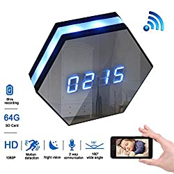 MAGHO Wall Clock Spy Camera,1080p Full Hd WiFi Clock Cam with 8m Ir Super Night Vision,Wireless Motion Activated Surveillance Nanny Recorder System for Home/Office, Free Android/iOS APP