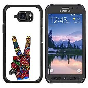 TECHCASE---Cubierta de la caja de protección para la piel dura ** Samsung Galaxy S6 Active G890A ** --La victoria Gesto de mano blanca abstracta