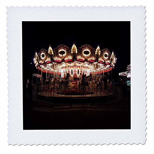 3dRose TDSwhite – Miscellaneous Photography - Carousel Merry Go Round Amusement Park Night Lights - 10x10 inch Quilt Square (qs_285280_1)