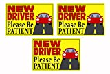 Zone Tech New Driver Please Be Patient Automotive Car Vinyl Magnet REFLECTIVE Set of 3