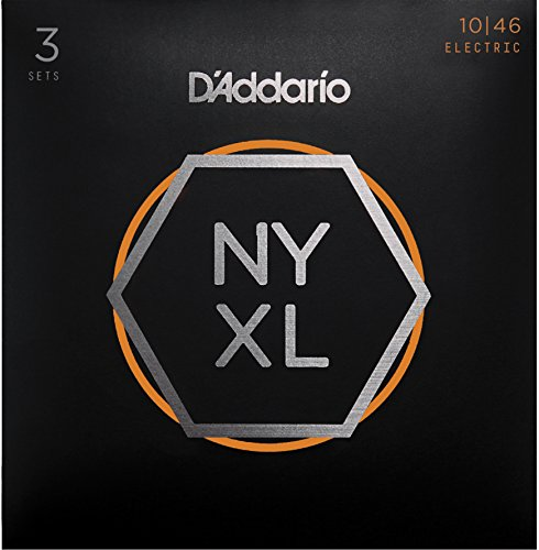D'Addario NYXL1046 Nickel Plated Electric Guitar Strings, Light, 3 Sets