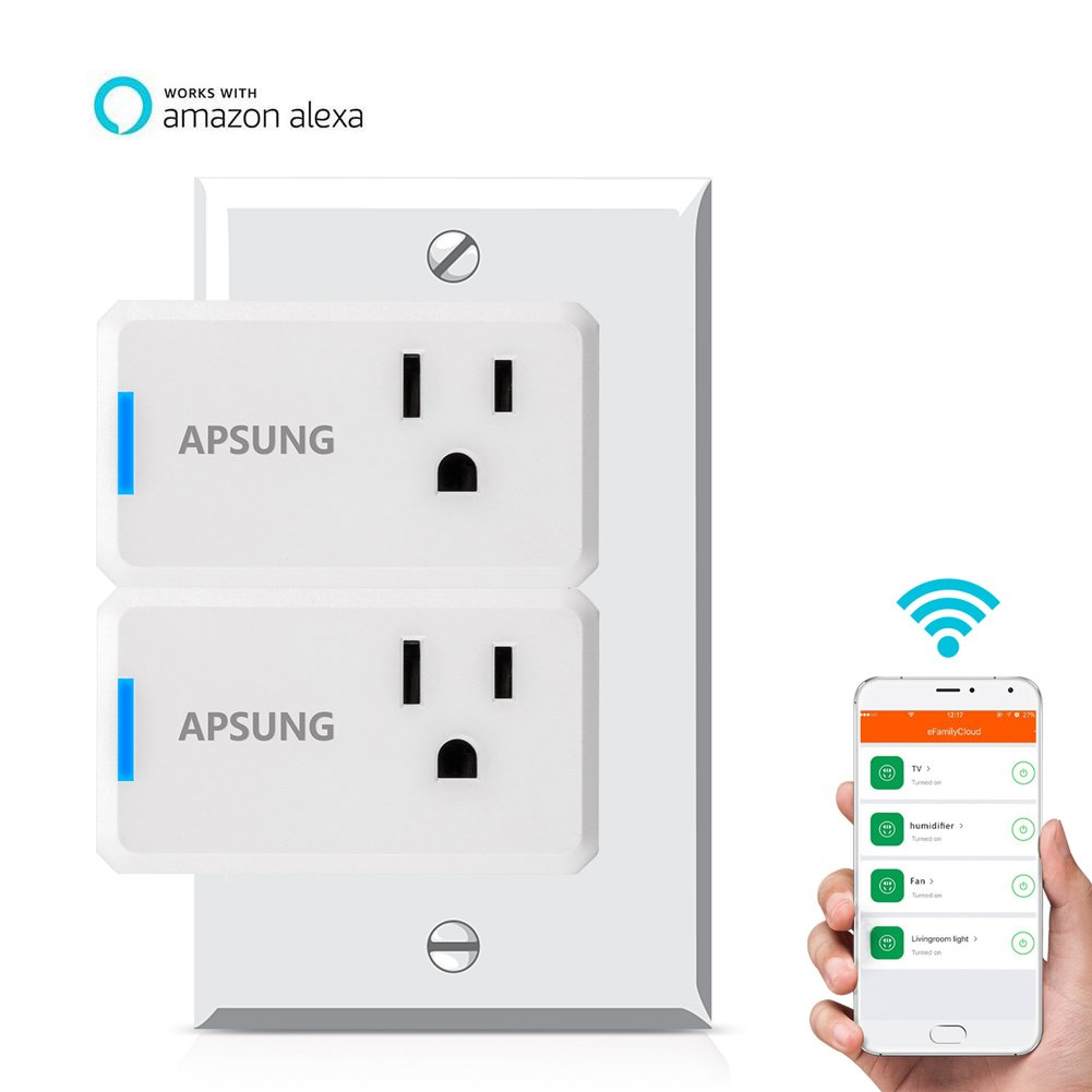 Apsung Smart Plug Works with Alexa, 2 PACKS Wi-Fi Wireless Power Socket Smart Outlet for Amazon Echo, Dot, Google Home Assistant, No Hub Required, App Remote Control - Compact Size Rectangle Style