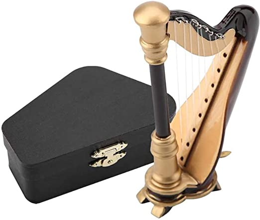 xxz Adorno de Arpa, Instrumento Musical en Miniatura de Madera Decoración de Adorno navideño con Estuche de Regalo, para Sala de música de Oficina en casa 20 cm / 7.87 Pulgadas: Amazon.es: Hogar