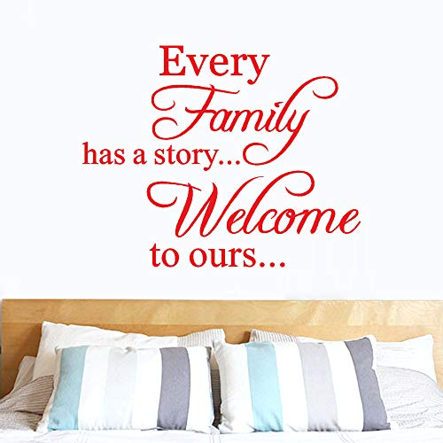 Hot Sale!DEESEE(TM)Every Family Has A Story Welcome Toours Removable Art Vinyl Mural Home Room Decor Wall Stickers (Red)