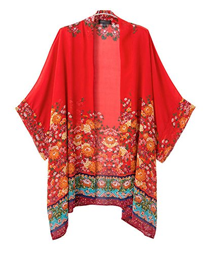 Olrain Women's Floral Print Sheer Chiffon Loose Kimono Cardigan Capes Red Medium (Womens Red Kimono)