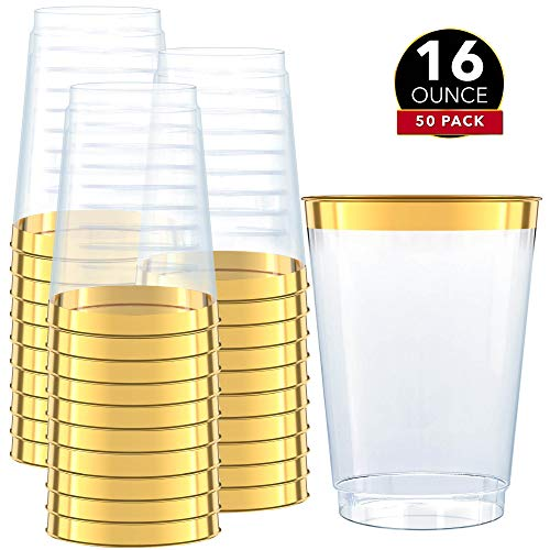 50 Gold Plastic Cups | 16 Oz Clear Plastic Cups | Gold Rimmed Cups | Old-Fashioned Tumblers | Fancy Disposable Wedding Cups With Gold Rim | Elegant Party Supplies For Holiday and Occasions [DRINKET]