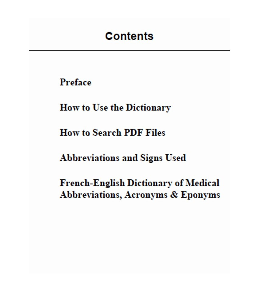 French-English Dictionary of Medical Abbreviations, Acronyms